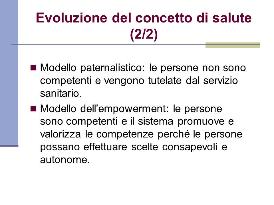 Evoluzione del concetto di salute (2/2) Modello paternalistico: le persone non sono competenti e vengono tutelate dal servizio sanitario. Modello dell