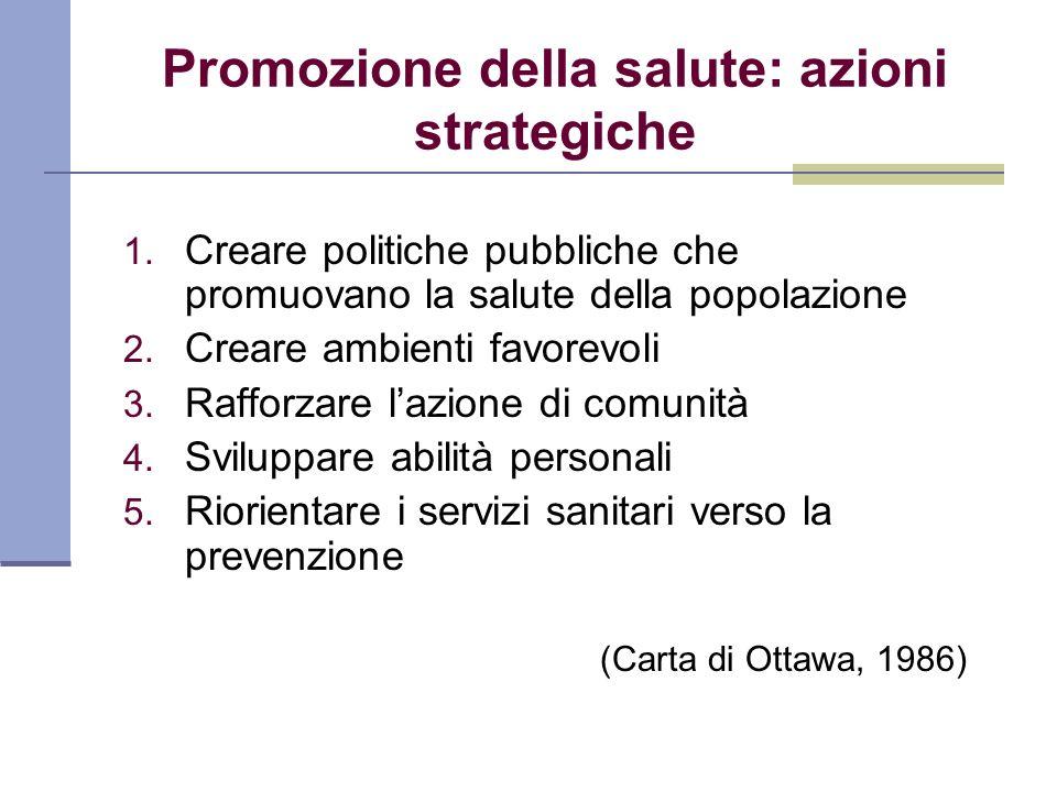 Promozione della salute: azioni strategiche 1. Creare politiche pubbliche che promuovano la salute della popolazione 2. Creare ambienti favorevoli 3.