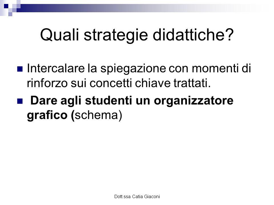 Dott.ssa Catia Giaconi Quali strategie didattiche? Intercalare la spiegazione con momenti di rinforzo sui concetti chiave trattati. Dare agli studenti