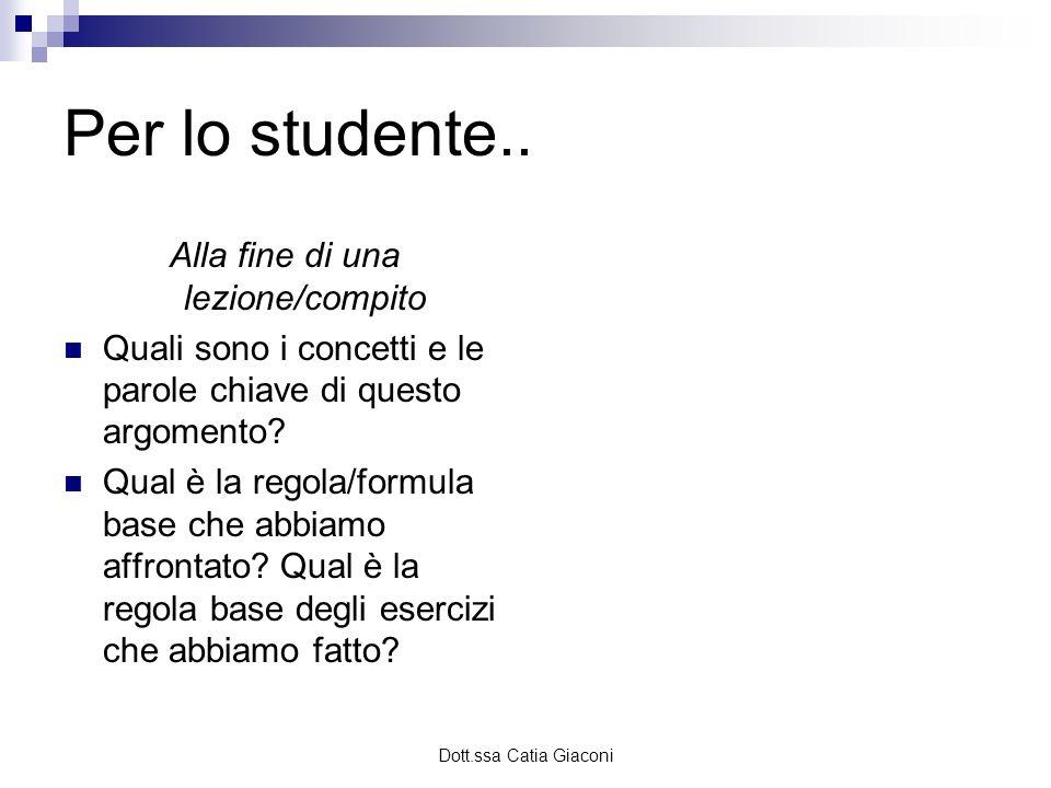 Dott.ssa Catia Giaconi Per lo studente.. Alla fine di una lezione/compito Quali sono i concetti e le parole chiave di questo argomento? Qual è la rego