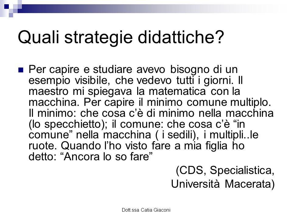 Dott.ssa Catia Giaconi Quali strategie didattiche? Per capire e studiare avevo bisogno di un esempio visibile, che vedevo tutti i giorni. Il maestro m
