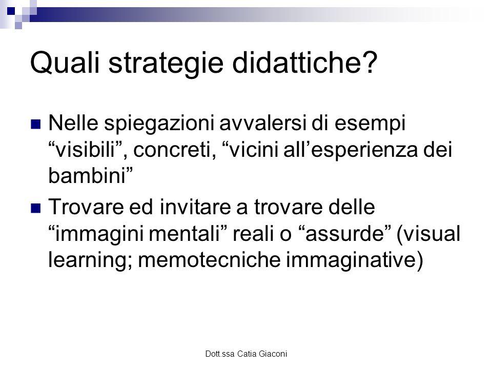 Dott.ssa Catia Giaconi Quali strategie didattiche? Nelle spiegazioni avvalersi di esempi visibili, concreti, vicini allesperienza dei bambini Trovare