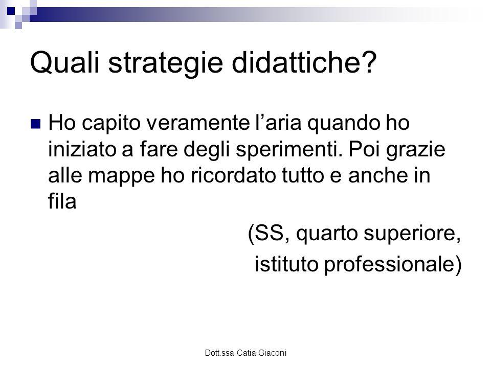Dott.ssa Catia Giaconi Quali strategie didattiche? Ho capito veramente laria quando ho iniziato a fare degli sperimenti. Poi grazie alle mappe ho rico