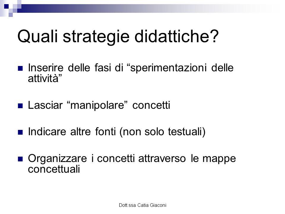 Dott.ssa Catia Giaconi Quali strategie didattiche? Inserire delle fasi di sperimentazioni delle attività Lasciar manipolare concetti Indicare altre fo