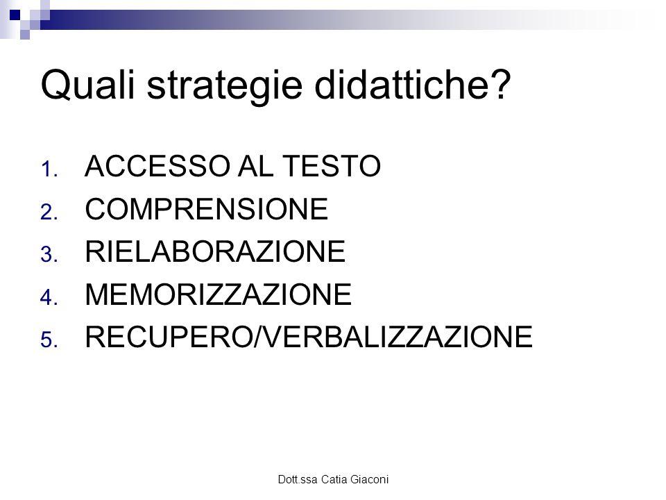 Dott.ssa Catia Giaconi Quali strategie didattiche? 1. ACCESSO AL TESTO 2. COMPRENSIONE 3. RIELABORAZIONE 4. MEMORIZZAZIONE 5. RECUPERO/VERBALIZZAZIONE