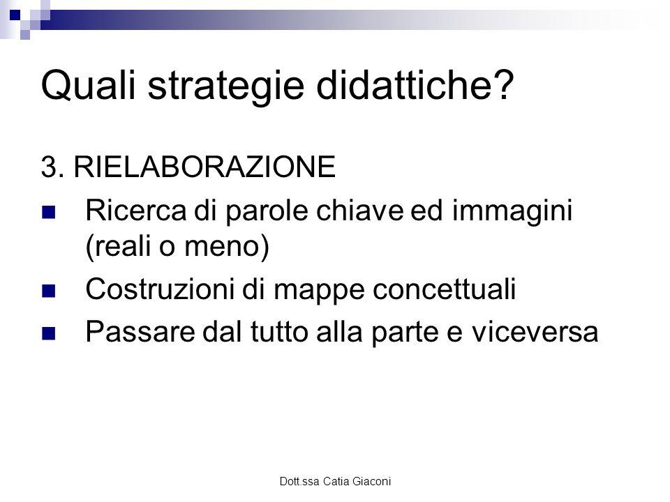 Dott.ssa Catia Giaconi Quali strategie didattiche? 3. RIELABORAZIONE Ricerca di parole chiave ed immagini (reali o meno) Costruzioni di mappe concettu