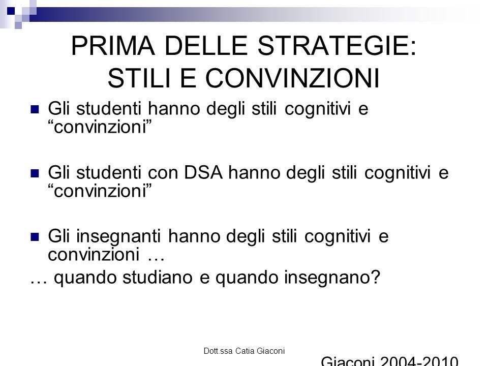 Dott.ssa Catia Giaconi PRIMA DELLE STRATEGIE: STILI E CONVINZIONI Gli studenti hanno degli stili cognitivi e convinzioni Gli studenti con DSA hanno de