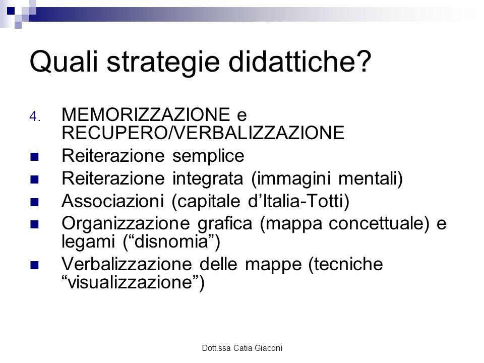 Dott.ssa Catia Giaconi Quali strategie didattiche? 4. MEMORIZZAZIONE e RECUPERO/VERBALIZZAZIONE Reiterazione semplice Reiterazione integrata (immagini