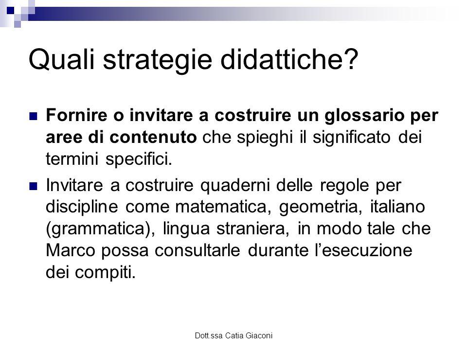 Dott.ssa Catia Giaconi Quali strategie didattiche? Fornire o invitare a costruire un glossario per aree di contenuto che spieghi il significato dei te