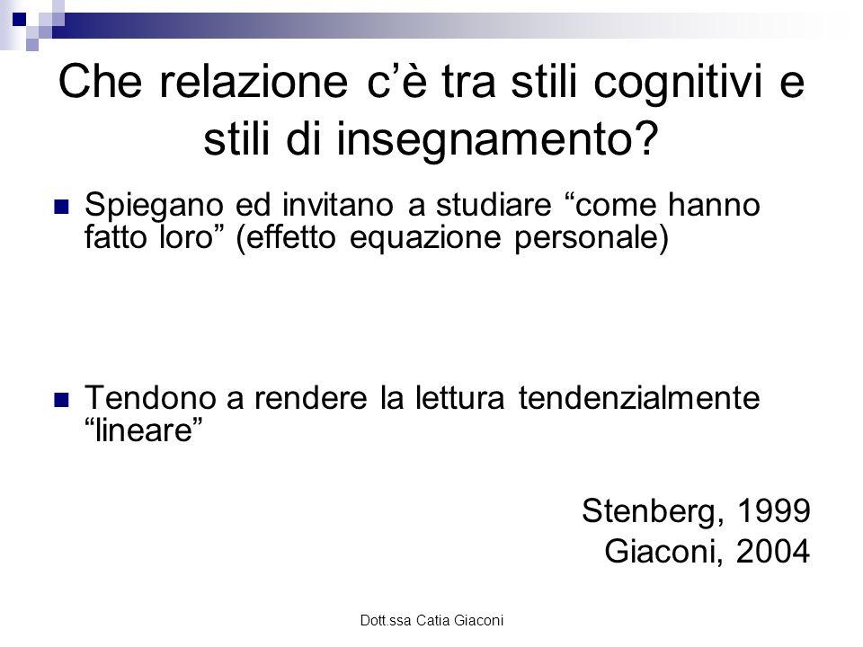 Dott.ssa Catia Giaconi Che relazione cè tra stili cognitivi e stili di insegnamento? Spiegano ed invitano a studiare come hanno fatto loro (effetto eq