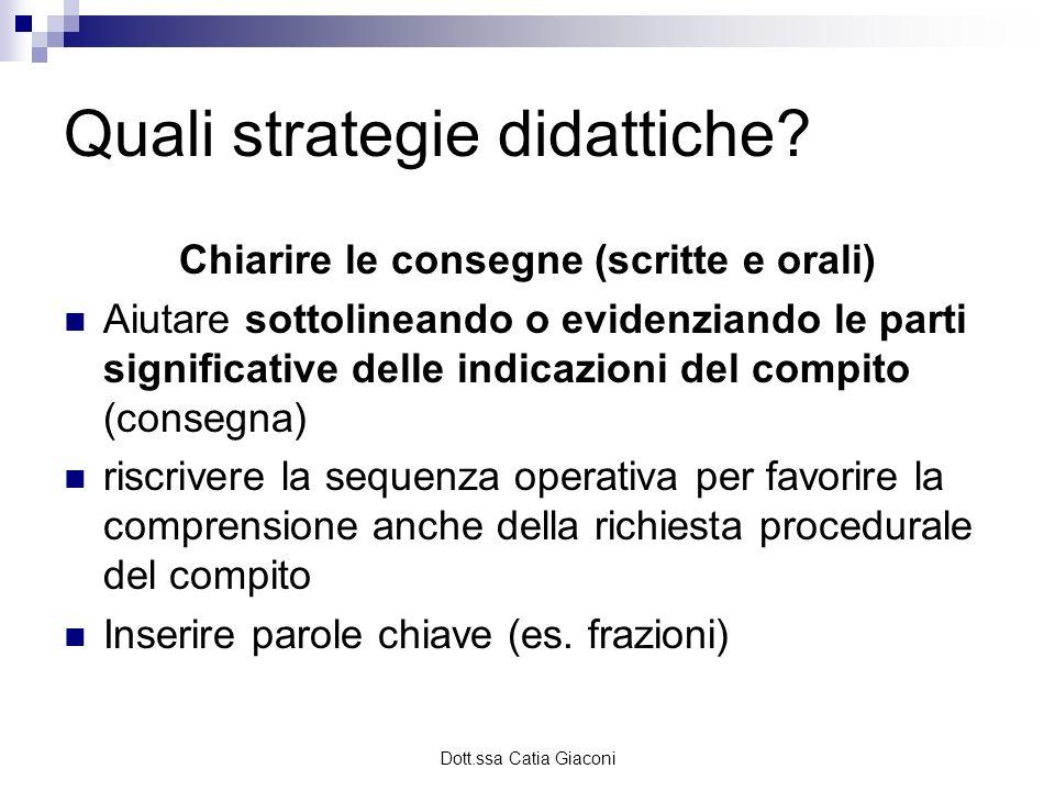 Dott.ssa Catia Giaconi Quali strategie didattiche? Chiarire le consegne (scritte e orali) Aiutare sottolineando o evidenziando le parti significative
