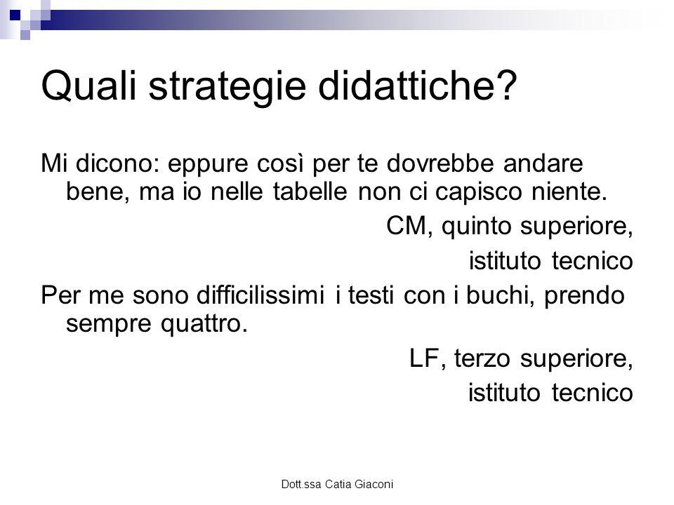 Dott.ssa Catia Giaconi Quali strategie didattiche? Mi dicono: eppure così per te dovrebbe andare bene, ma io nelle tabelle non ci capisco niente. CM,