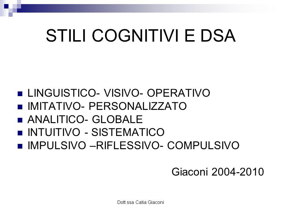 Dott.ssa Catia Giaconi STILI COGNITIVI E DSA LINGUISTICO- VISIVO- OPERATIVO IMITATIVO- PERSONALIZZATO ANALITICO- GLOBALE INTUITIVO - SISTEMATICO IMPUL