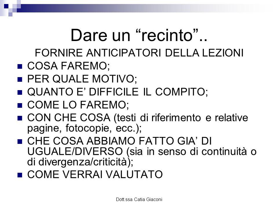 Dott.ssa Catia Giaconi Per lo studente..