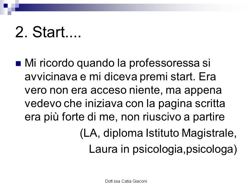 Dott.ssa Catia Giaconi 2. Start.... Mi ricordo quando la professoressa si avvicinava e mi diceva premi start. Era vero non era acceso niente, ma appen