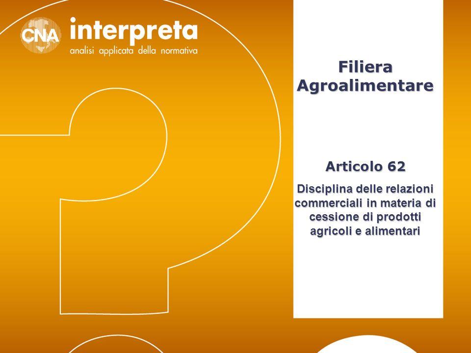 Modena, 24 febbraio 20121 Contratti scritti nella filiera Alimentare CNA Interpreta Filiera Agroalimentare Articolo 62 Disciplina delle relazioni comm