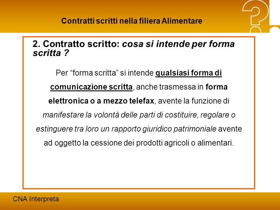 Modena, 24 febbraio 201211 Contratti scritti nella filiera Alimentare CNA Interpreta 2. Contratto scritto: cosa si intende per forma scritta ? Per for