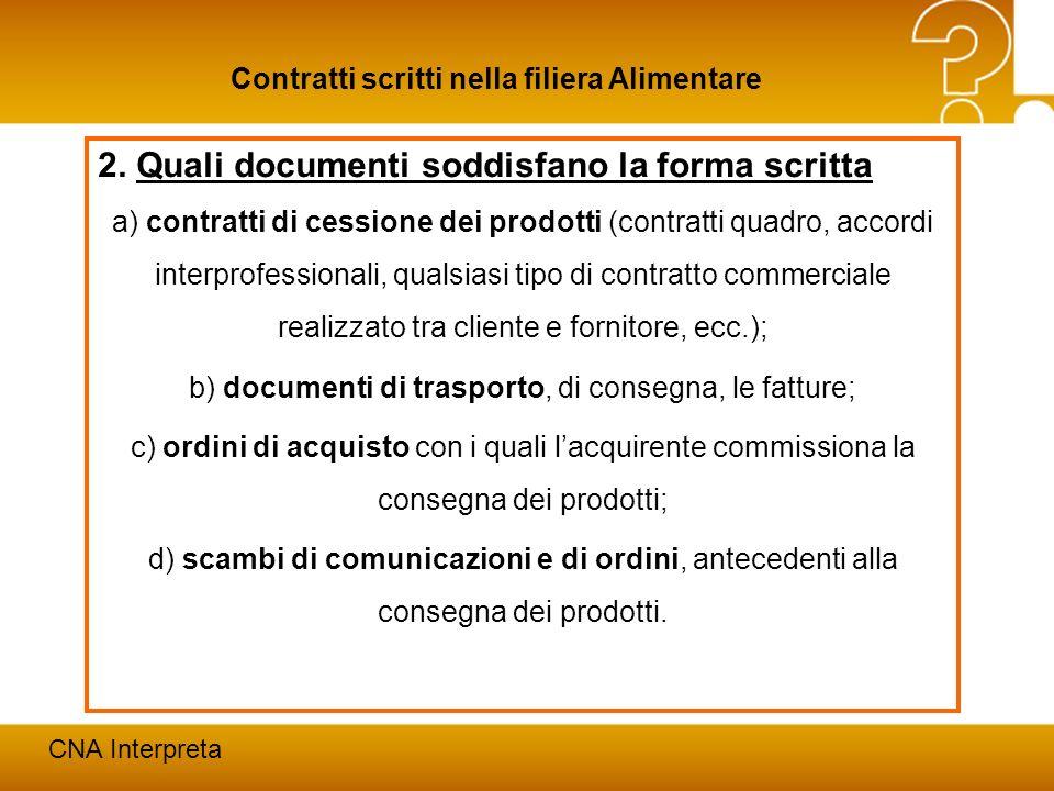 Modena, 24 febbraio 201212 Contratti scritti nella filiera Alimentare CNA Interpreta 2. Quali documenti soddisfano la forma scritta a) contratti di ce