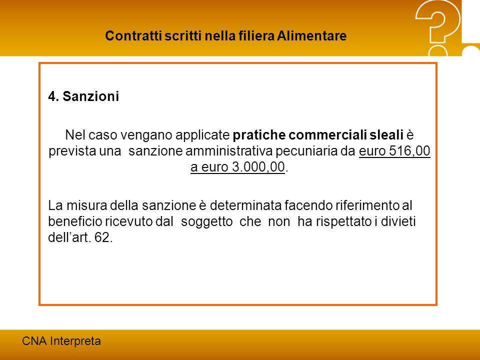 Modena, 24 febbraio 201224 Contratti scritti nella filiera Alimentare CNA Interpreta 4. Sanzioni Nel caso vengano applicate pratiche commerciali sleal
