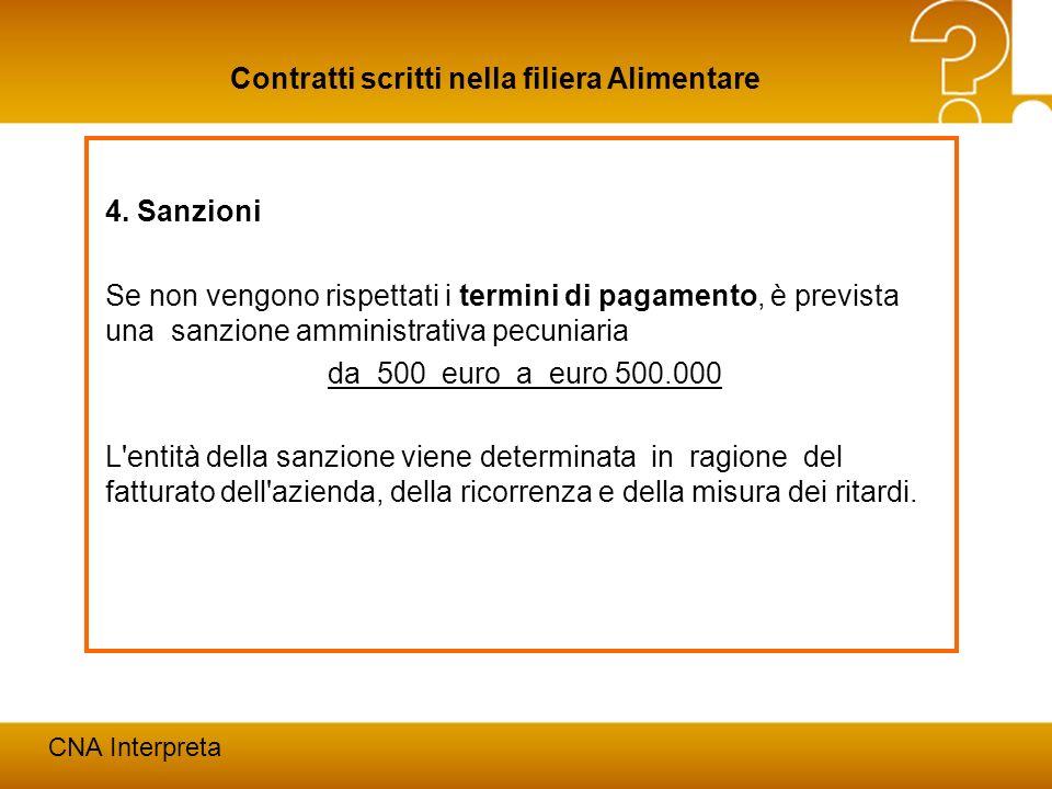 Modena, 24 febbraio 201225 Contratti scritti nella filiera Alimentare CNA Interpreta 4. Sanzioni Se non vengono rispettati i termini di pagamento, è p