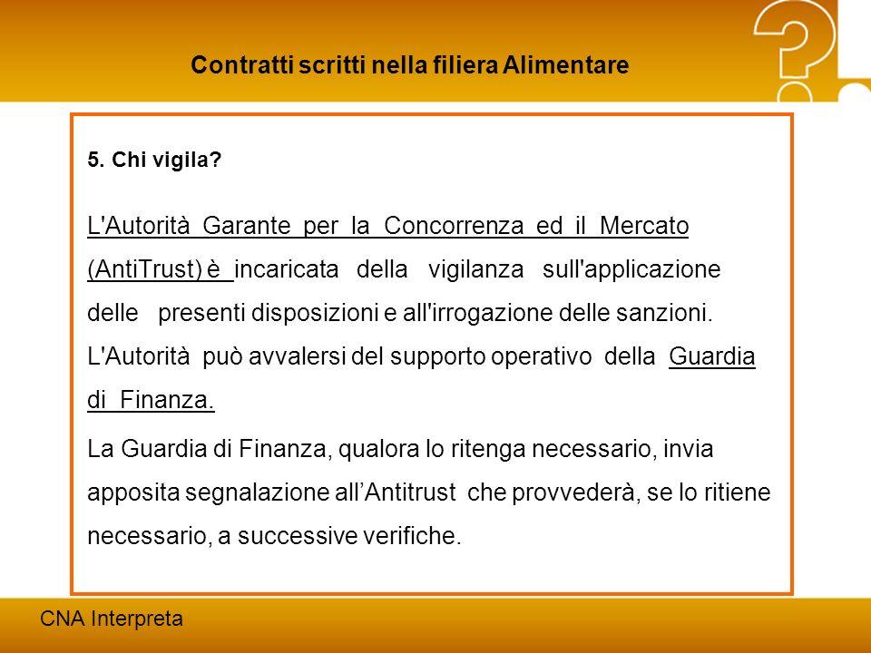 Modena, 24 febbraio 201226 Contratti scritti nella filiera Alimentare CNA Interpreta 5. Chi vigila? L'Autorità Garante per la Concorrenza ed il Mercat