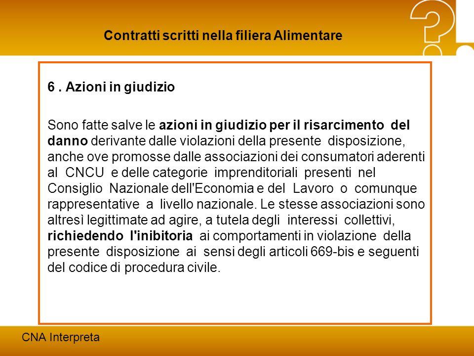 Modena, 24 febbraio 201227 Contratti scritti nella filiera Alimentare CNA Interpreta 6. Azioni in giudizio Sono fatte salve le azioni in giudizio per