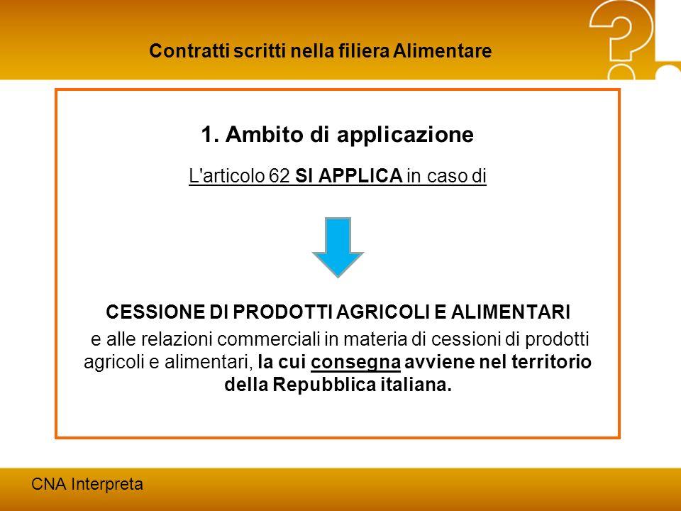 Modena, 24 febbraio 20125 Contratti scritti nella filiera Alimentare CNA Interpreta 1. Ambito di applicazione L'articolo 62 SI APPLICA in caso di CESS