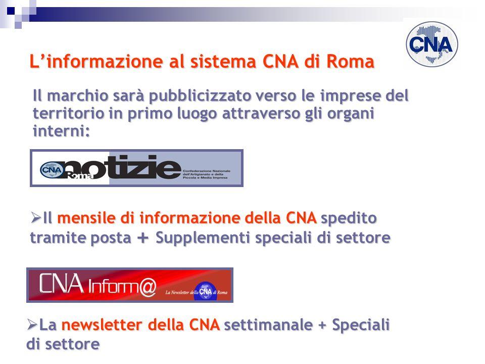 Linformazione al sistema CNA di Roma Il marchio sarà pubblicizzato verso le imprese del territorio in primo luogo attraverso gli organi interni: Il me
