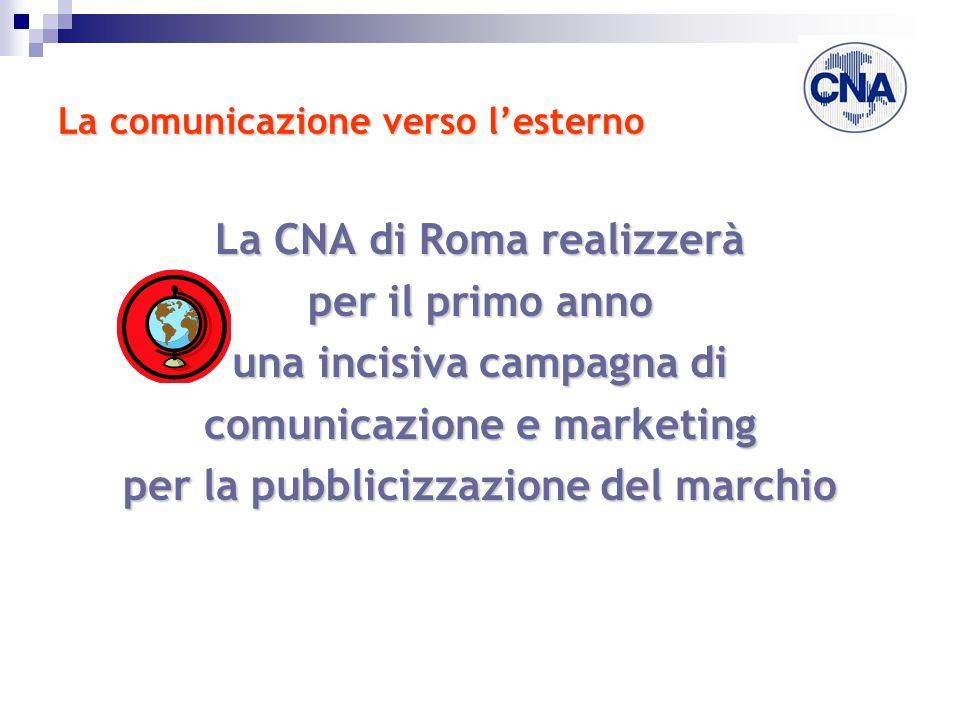 La comunicazione verso lesterno La CNA di Roma realizzerà per il primo anno una incisiva campagna di comunicazione e marketing per la pubblicizzazione del marchio