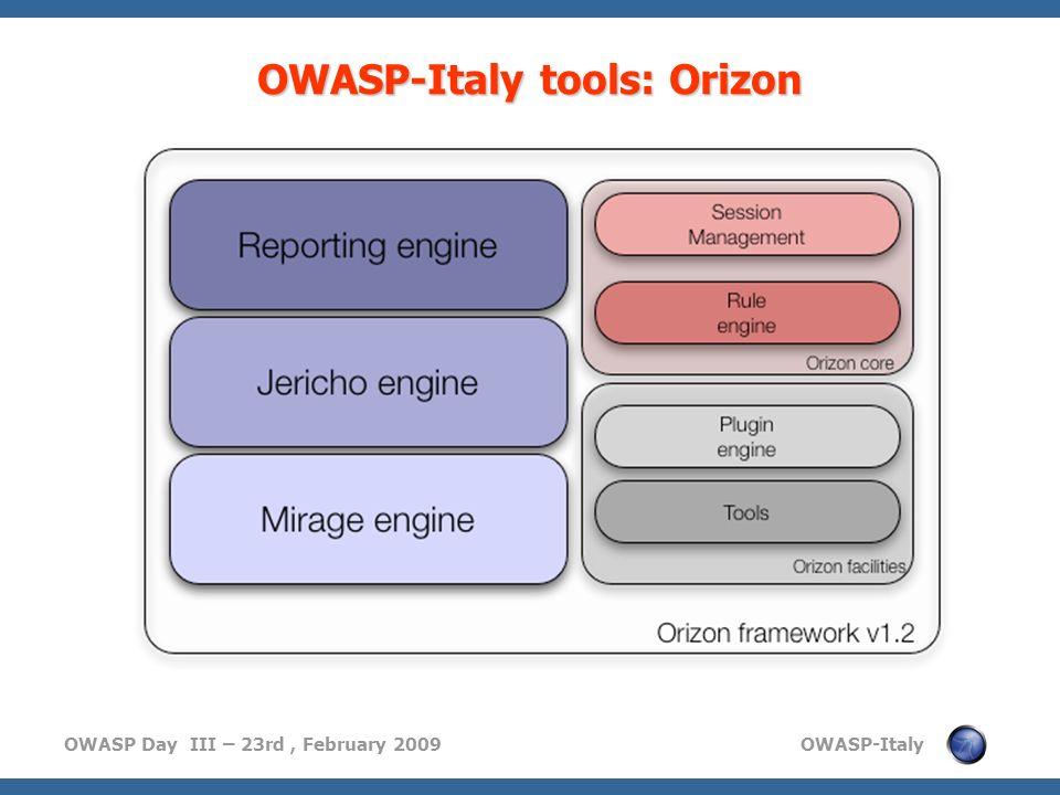 OWASP Day III – 23rd, February 2009 OWASP-Italy OWASP-Italy tools: Orizon