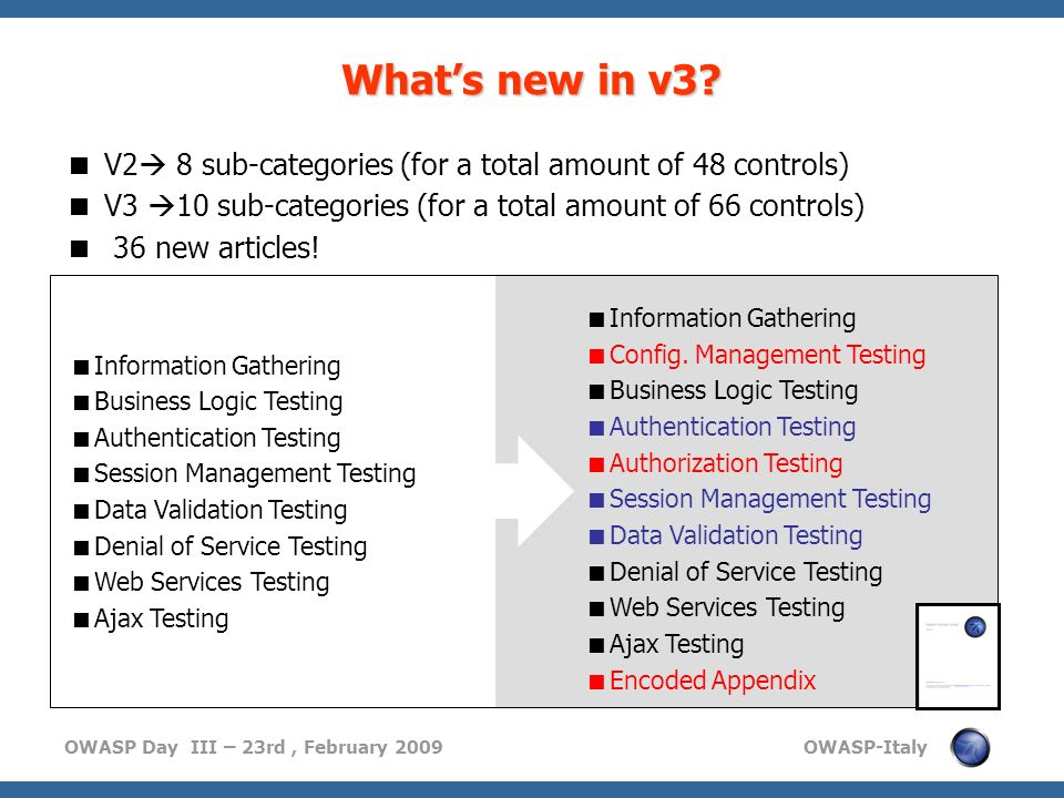 OWASP Day III – 23rd, February 2009 OWASP-Italy Whats new in v3? Information Gathering Config. Management Testing Business Logic Testing Authenticatio