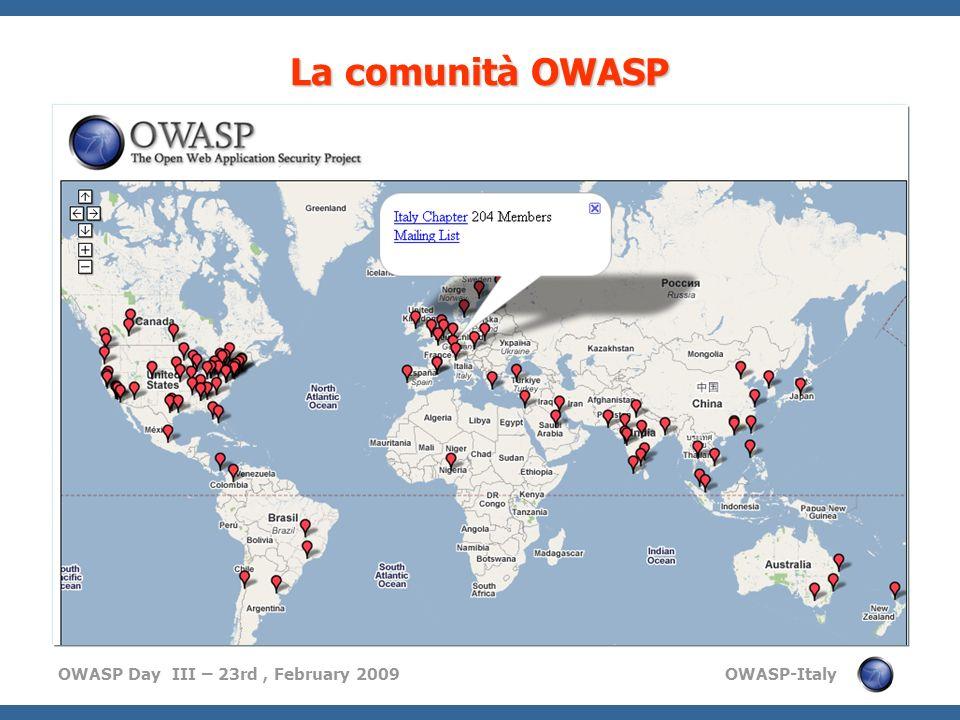 OWASP Day III – 23rd, February 2009 OWASP-Italy La comunità OWASP