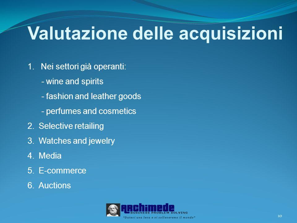 10 Valutazione delle acquisizioni 1.