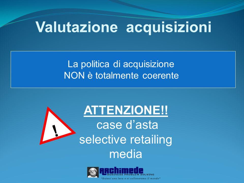 Valutazione acquisizioni La politica di acquisizione NON è totalmente coerente .