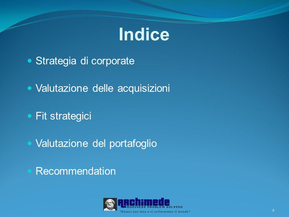 2 Indice Strategia di corporate Valutazione delle acquisizioni Fit strategici Valutazione del portafoglio Recommendation