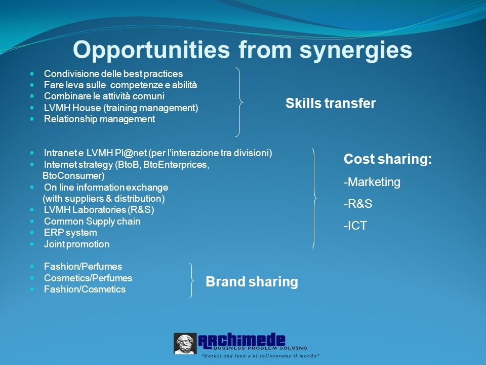 Opportunities from synergies Condivisione delle best practices Fare leva sulle competenze e abilità Combinare le attività comuni LVMH House (training management) Relationship management Intranet e LVMH Pl@net (per linterazione tra divisioni) Internet strategy (BtoB, BtoEnterprices, BtoConsumer) On line information exchange (with suppliers & distribution) LVMH Laboratories (R&S) Common Supply chain ERP system Joint promotion Fashion/Perfumes Cosmetics/Perfumes Fashion/Cosmetics Skills transfer Cost sharing: -Marketing -R&S -ICT Brand sharing