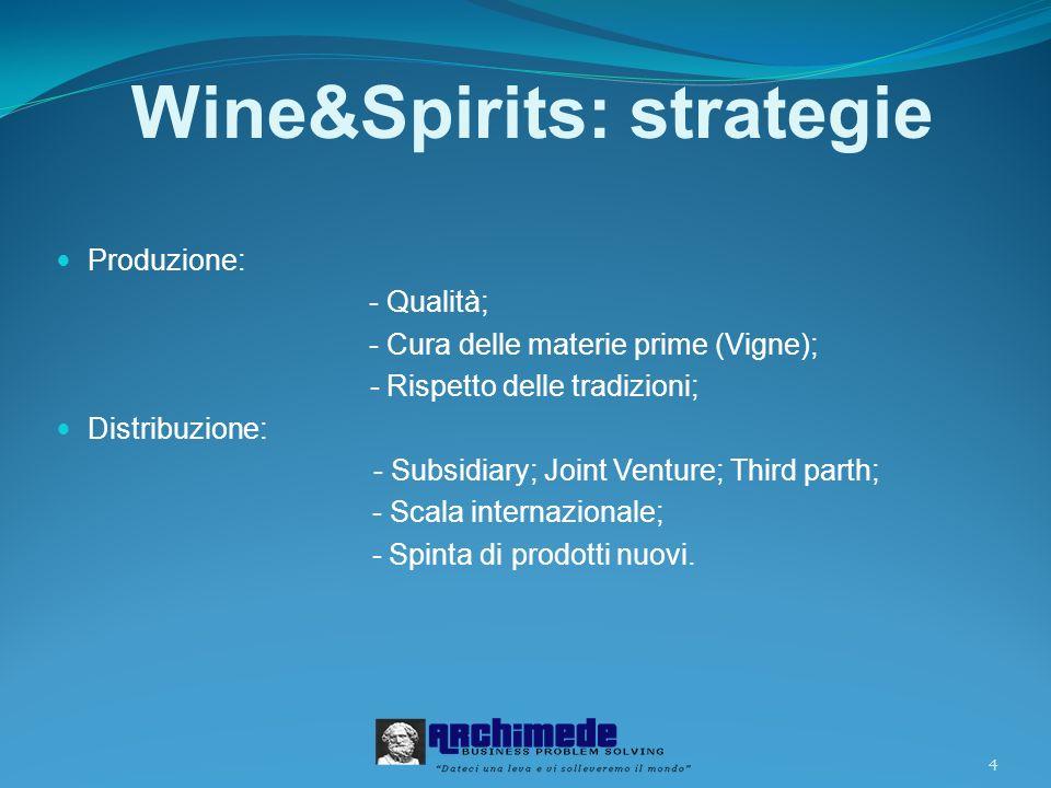 4 Wine&Spirits: strategie Produzione: - Qualità; - Cura delle materie prime (Vigne); - Rispetto delle tradizioni; Distribuzione: - Subsidiary; Joint Venture; Third parth; - Scala internazionale; - Spinta di prodotti nuovi.