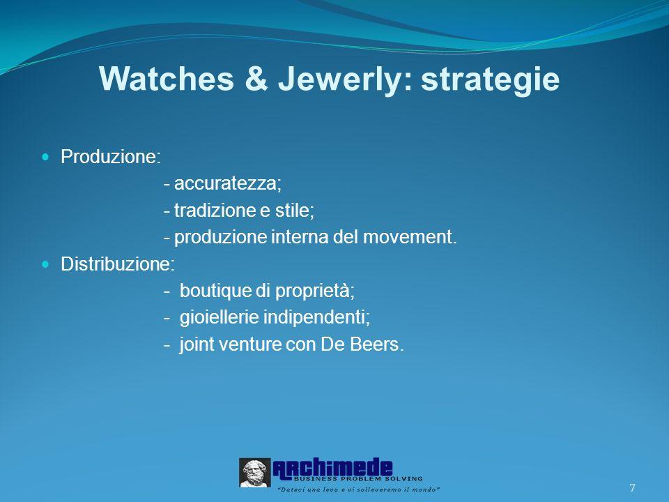 7 Watches & Jewerly: strategie Produzione: - accuratezza; - tradizione e stile; - produzione interna del movement.