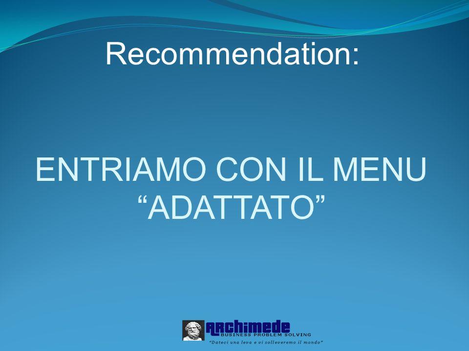 ENTRIAMO CON IL MENU ADATTATO Recommendation: