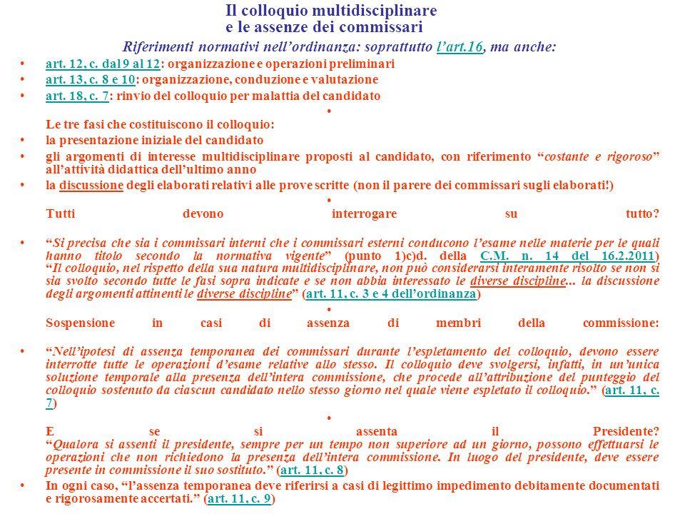 Il colloquio multidisciplinare e le assenze dei commissari Riferimenti normativi nellordinanza: soprattutto lart.16, ma anche:lart.16 art.