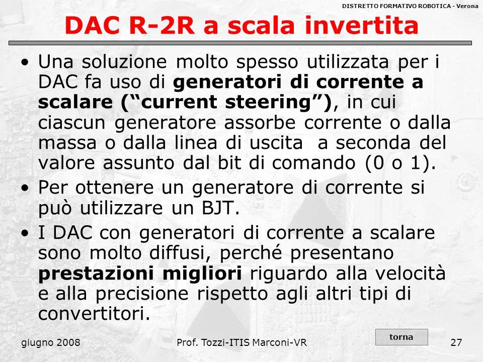 DISTRETTO FORMATIVO ROBOTICA - Verona giugno 2008Prof. Tozzi-ITIS Marconi-VR27 DAC R-2R a scala invertita Una soluzione molto spesso utilizzata per i