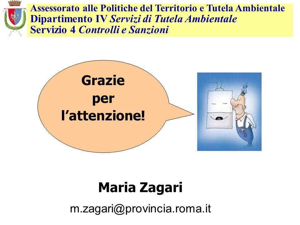 Maria Zagari m.zagari@provincia.roma.it Grazie per lattenzione! Assessorato alle Politiche del Territorio e Tutela Ambientale Dipartimento IV Servizi