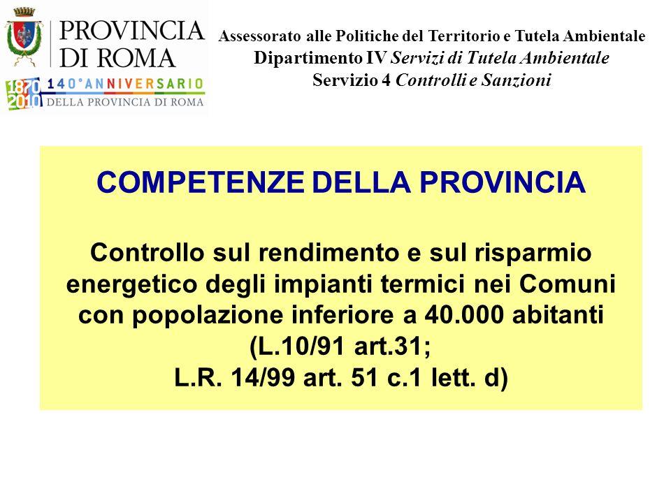 COMPETENZE DELLA PROVINCIA Controllo sul rendimento e sul risparmio energetico degli impianti termici nei Comuni con popolazione inferiore a 40.000 abitanti (L.10/91 art.31; L.R.