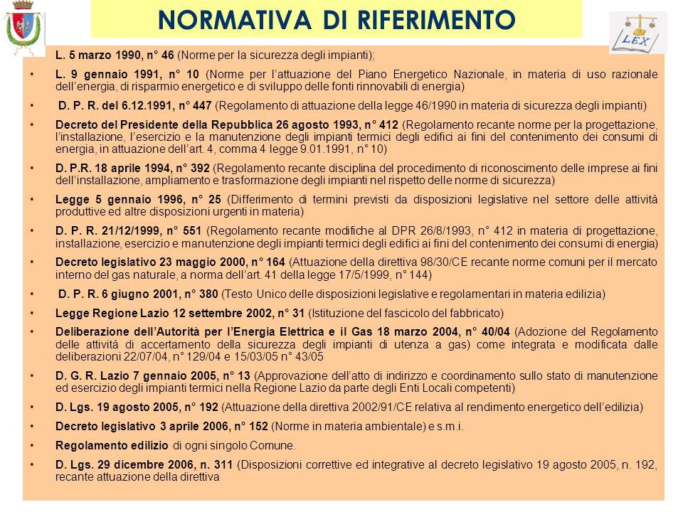 NORMATIVA DI RIFERIMENTO L. 5 marzo 1990, n° 46 (Norme per la sicurezza degli impianti); L. 9 gennaio 1991, n° 10 (Norme per lattuazione del Piano Ene