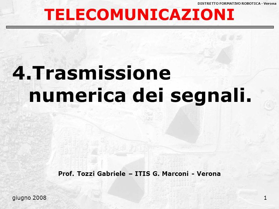DISTRETTO FORMATIVO ROBOTICA - Verona giugno 20081 TELECOMUNICAZIONI 4.Trasmissione numerica dei segnali. Prof. Tozzi Gabriele – ITIS G. Marconi - Ver