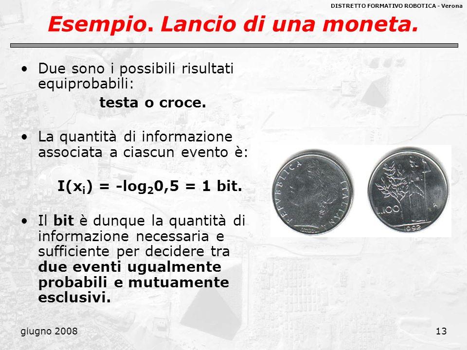 DISTRETTO FORMATIVO ROBOTICA - Verona giugno 200813 Esempio. Lancio di una moneta. Due sono i possibili risultati equiprobabili: testa o croce. La qua