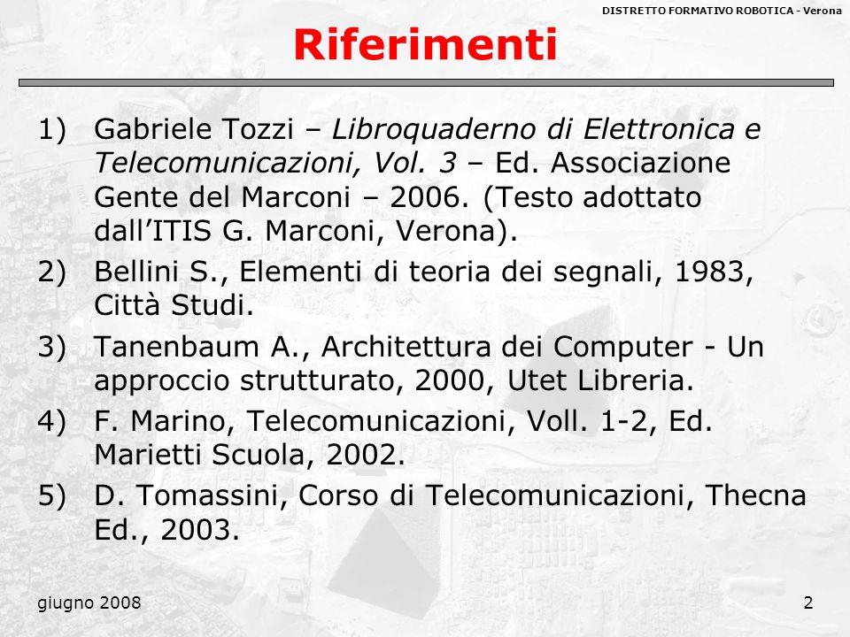 DISTRETTO FORMATIVO ROBOTICA - Verona giugno 20082 Riferimenti 1)Gabriele Tozzi – Libroquaderno di Elettronica e Telecomunicazioni, Vol. 3 – Ed. Assoc