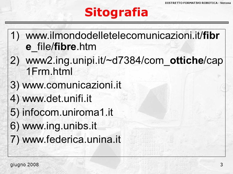 DISTRETTO FORMATIVO ROBOTICA - Verona giugno 20083 Sitografia 1)www.ilmondodelletelecomunicazioni.it/fibr e_file/fibre.htm 2)www2.ing.unipi.it/~d7384/