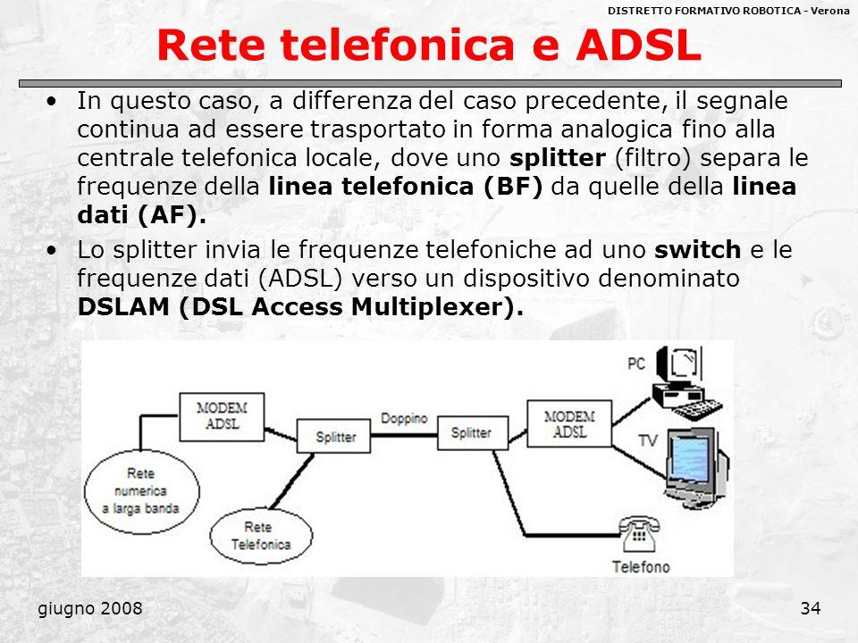 DISTRETTO FORMATIVO ROBOTICA - Verona giugno 200834 Rete telefonica e ADSL In questo caso, a differenza del caso precedente, il segnale continua ad es
