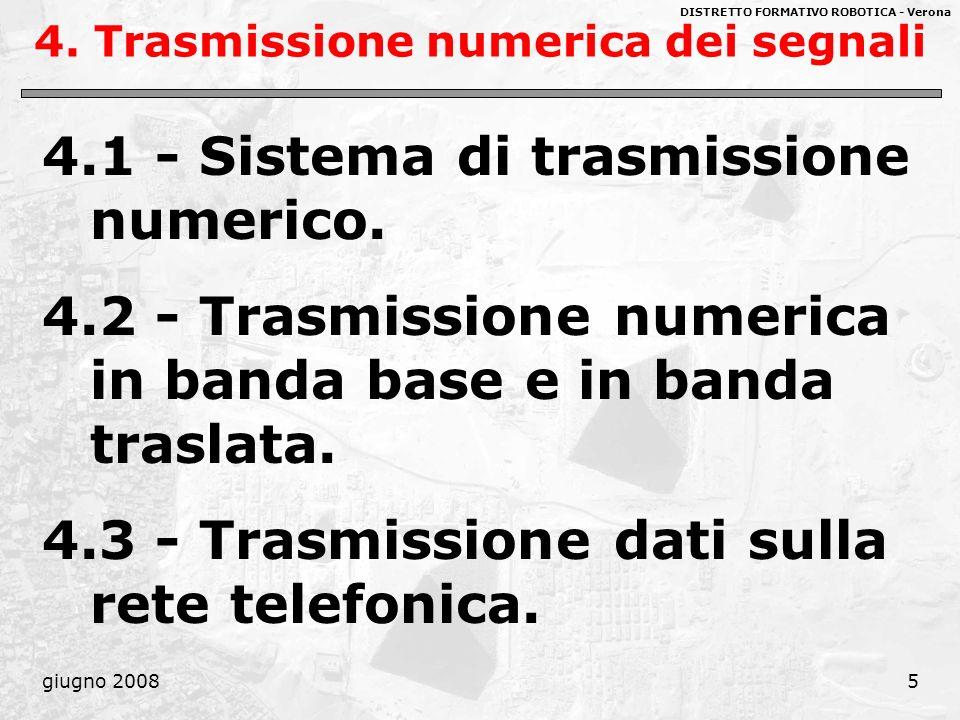 DISTRETTO FORMATIVO ROBOTICA - Verona giugno 200816 Parametri caratteristici della trasmissione numerica 2) Frequenza di cifra, F c È il ritmo di trasmissione dei bit, con cui vengono codificati i simboli emessi dalla sorgente.